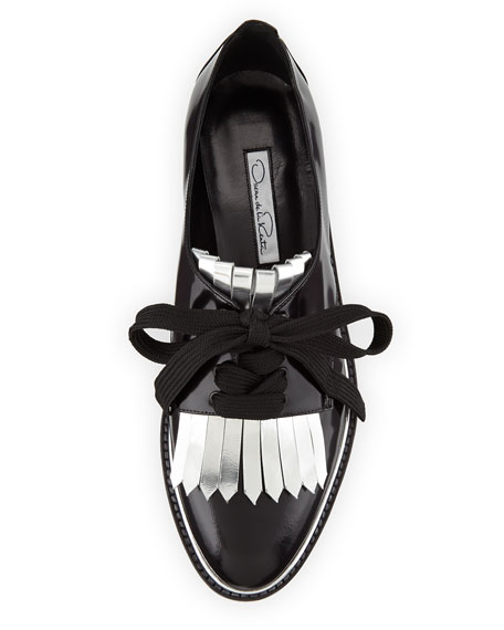 Amber Kilty Lace-Up Oxford, Black/Silver