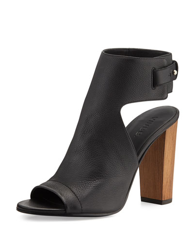 Vince Addie Leather Peep-Toe Bootie, Black