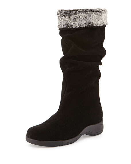 La Canadienne Trevis Slouchy Suede Boot, Black