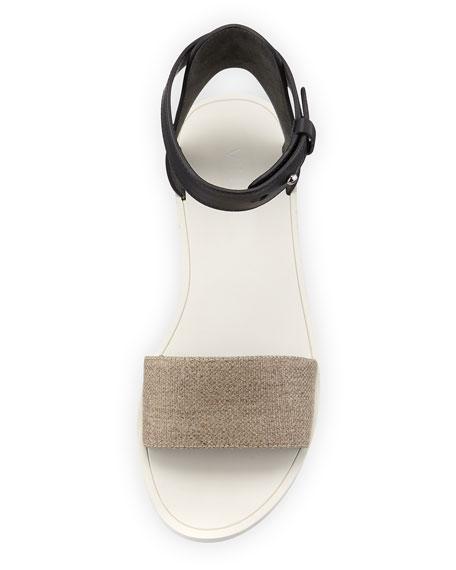 Sawyer Ankle-Wrap Flat Sandal, Natural/Black