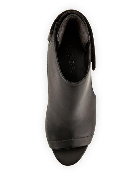 Katia Leather Wedge Bootie, Black