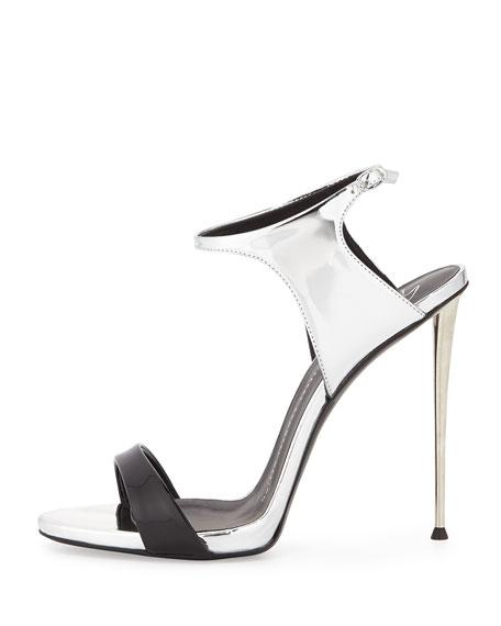 Patent/Metallic Ankle-Wrap Sandal