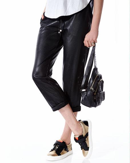 Giuseppe Zanotti Perforated Metallic Sneaker, Gold/Black