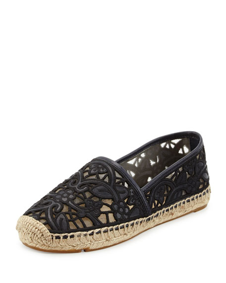Lucia Lace Espadrille Flat, Tory Navy/Black