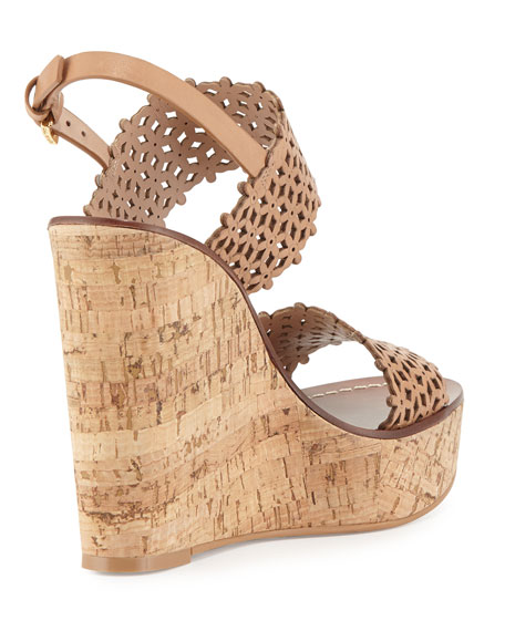 Tory Burch Daisy Perforated Wedge Sandal, Natural Blush