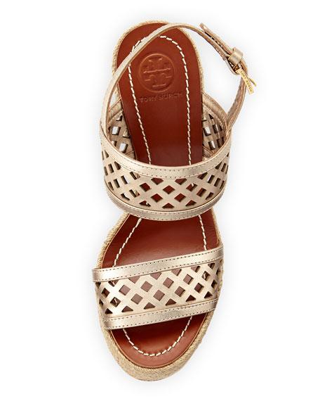 Lattice Perforated Wedge Sandal, Platinum