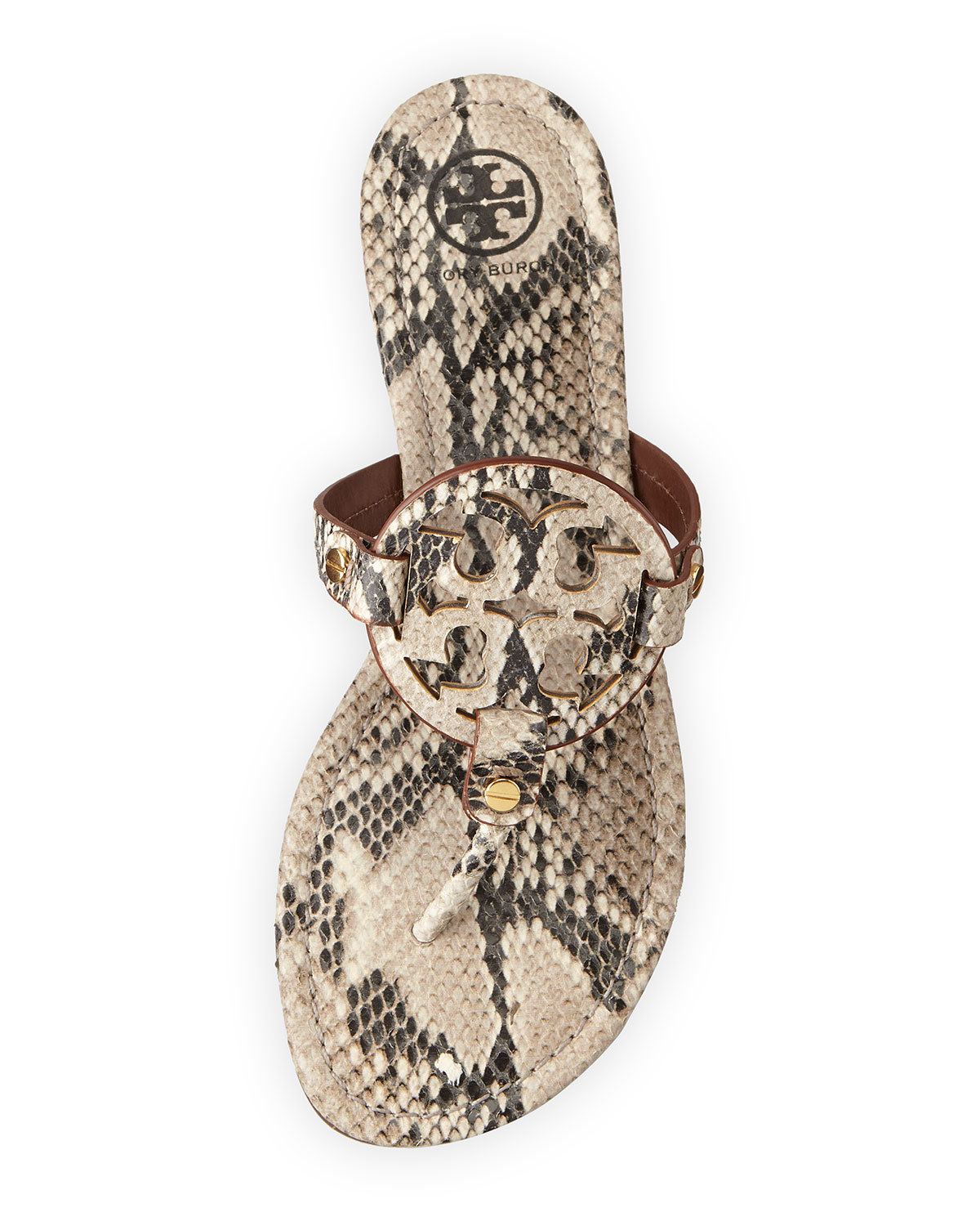 77b49373466f87 tory burch miller 2 snake embossed medallion sandal black natural ...
