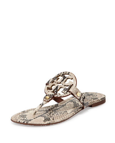 Tory Burch pebbled leather sandal. Double T logo at center of thong