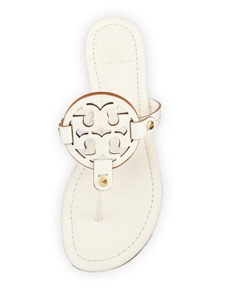 Miller Leather Logo Thong Sandal, Ivory