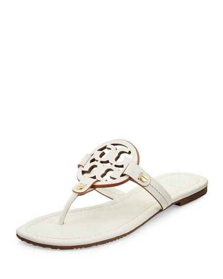 Tory Burch Miller Leather Logo Thong Sandal Ivory