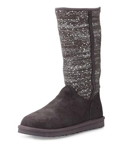 Camaya Metallic Knit Boot, Gray