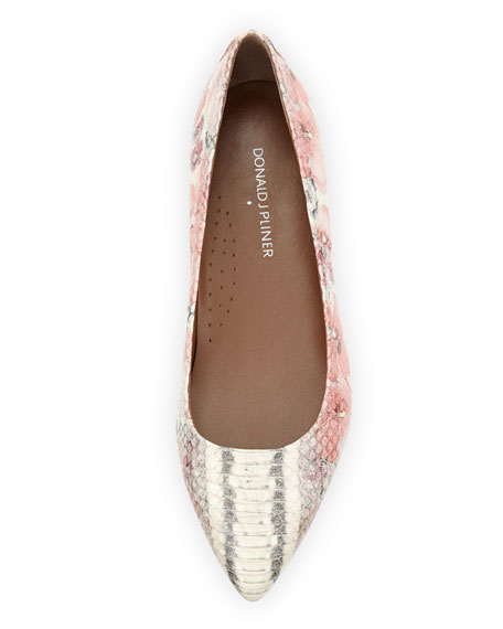 Adore Floral Snake-Embossed Leather Flat, Blush