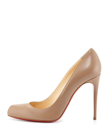 Decollette Leather Red Sole Pump, Taupe