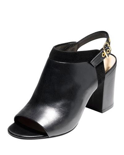 Jena Leather Slingback Bootie, Black