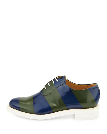 Striped Brush-Off Leather Oxford, Seaweed