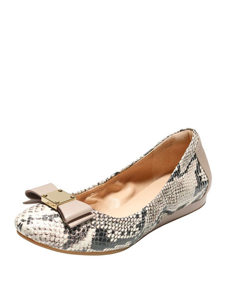 Cole Haan Quinn Snake-Embossed Ballet Flat, Natural/Roccia