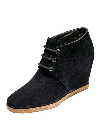 Leslie Suede Wedge Bootie, Black