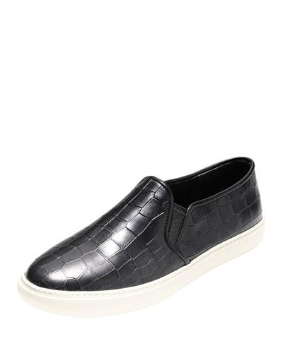 Bowie Croc-Embossed Slip-On Sneaker, Black