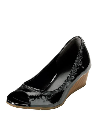 Air Tali Patent Leather Wedge, Black