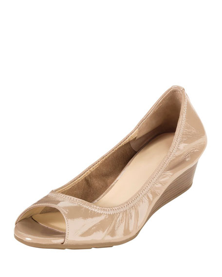 Cole Haan Air Tali Patent Leather Wedge, Sandstone