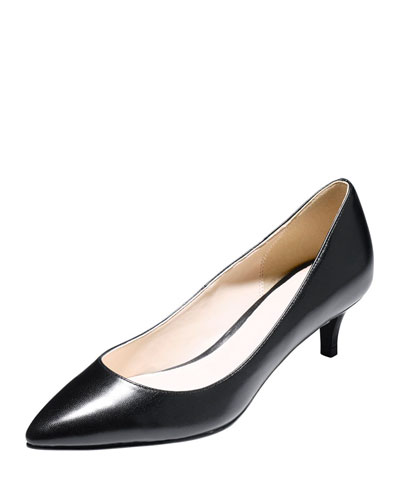 Juliana Low-Heel Leather Pump, Black