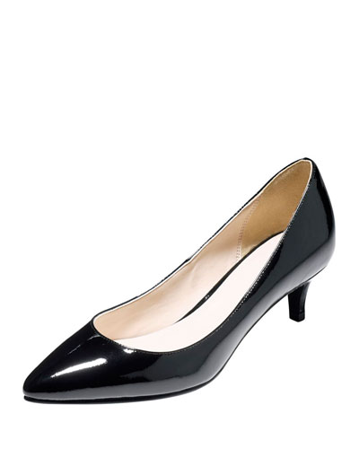 Juliana Low-Heel Patent Pump, Black