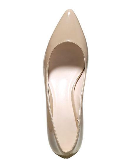 Juliana Patent Low-Heel Pump, Maple Sugar