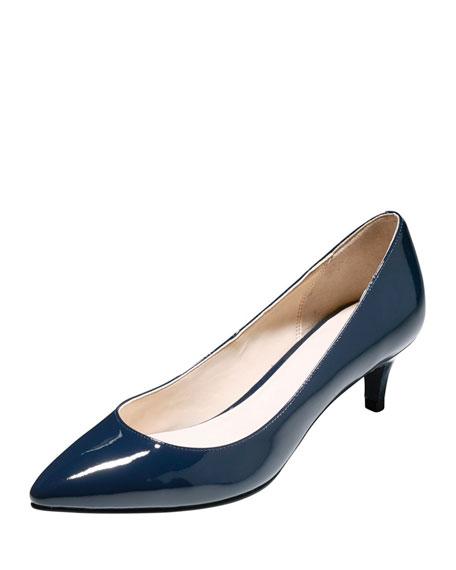 Juliana Patent Low-Heel Pump, Blazer Blue