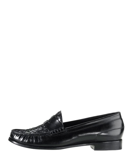 Laurel Woven Leather Moccasin, Black