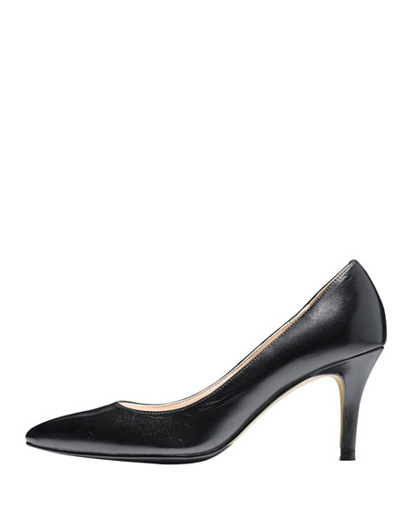 Juliana Leather Mid-Heel Pump,  Black