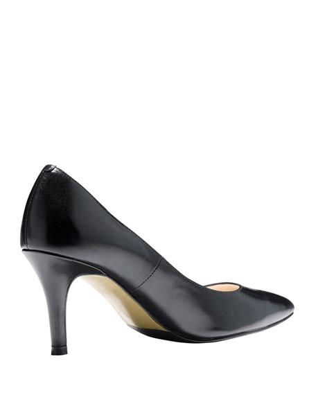 Juliana Leather Mid-Heel Pump,  Black