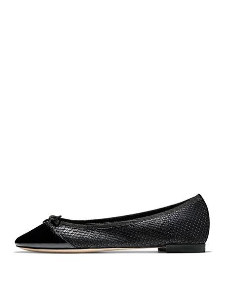 Sarina Cap-Toe Ballet Flat, Black
