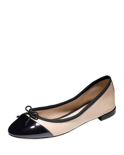 Sarina Cap-Toe Ballet Flat, Froth/Black