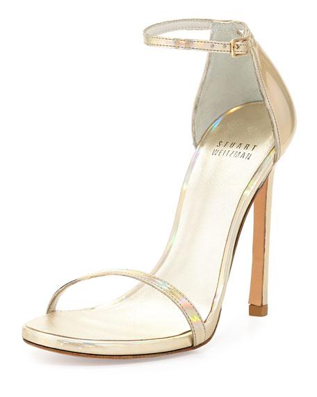 Nudist Metallic Ankle-Strap Sandal, Cava