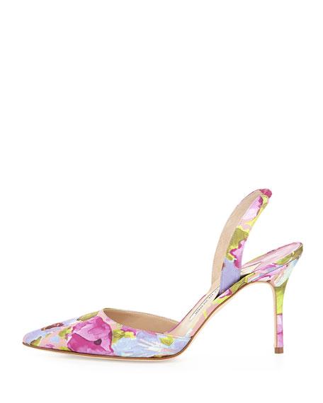 Carolyne Floral High-Heel Halter Pump, Multicolor