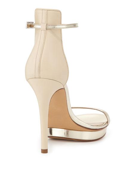 Doris Metallic Platform Sandal, Platinum
