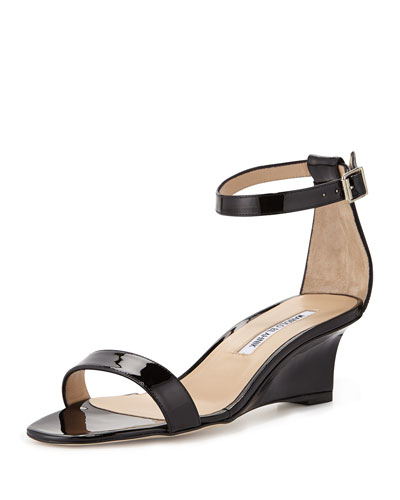 Valere Patent Demi-Wedge Sandal, Black
