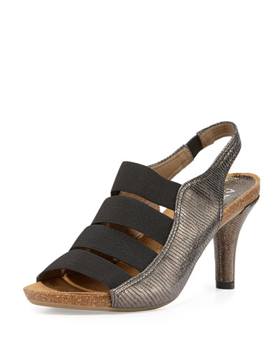 Brigitte Stretch-Strap Cork Sandal, Pewter