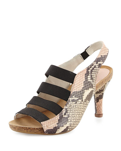 Brigitte Stretch-Strap Cork Sandal, Rose Pitone