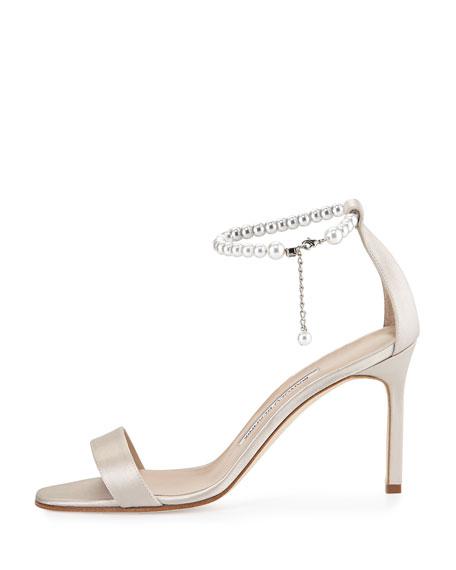 Manolo Blahnik Chaos Pearly Ankle-Wrap Sandal, Champagne
