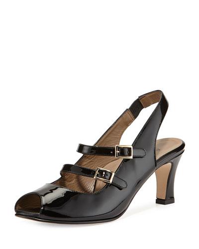 Toni Patent Slingback Sandal, Black