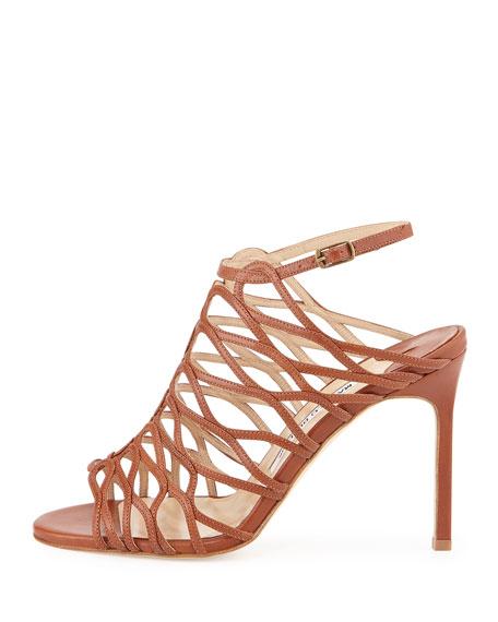 Coddilla Leather Slingback Sandal, Cognac