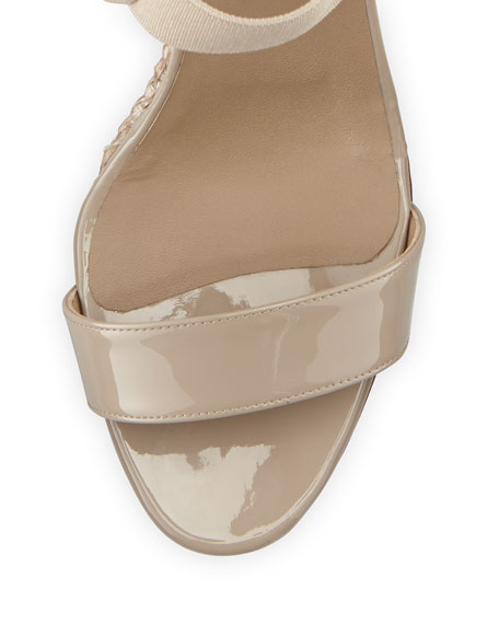 Pepe Patent Leather and Raffia Ankle-Wrap Wedge, Beige