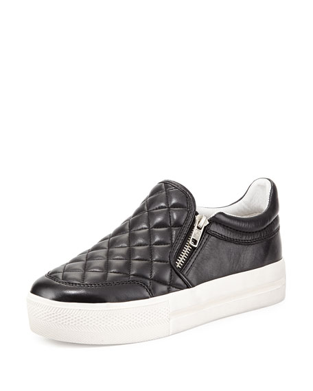 Jodie Quilted Zip Skate Shoe, Black