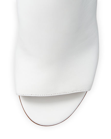 Burnett Leather Mule Slide, Optic White