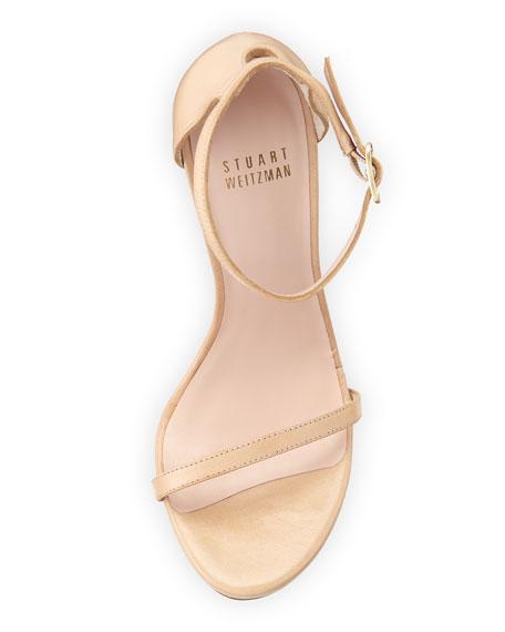 Nudist Leather Ankle-Strap Sandal, Adobe