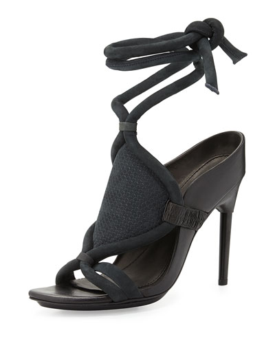 Marquise Leather Ankle-Wrap Sandal, Anthracite/Black