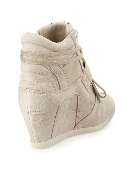 Bowie Suede Wedge Sneaker, Clay