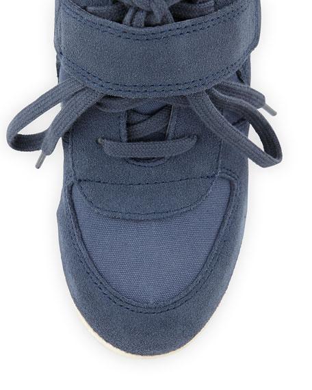 Bowie Suede Wedge Sneaker, Blue