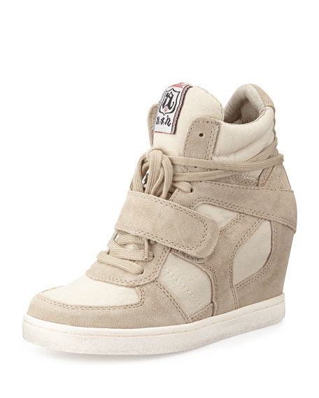 Suede Wedge Sneaker, Cool Clay